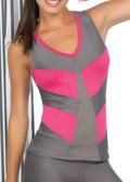 Ryocco Grey and Pink Sportswear Tank Top