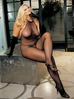 Shirley of Hollywood Plus Size Fishnet and Lace Halter-Top Body Stocking