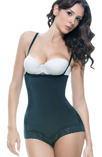 Vedette Scarlett Strapless Shapewear Body with Lace Trim - Black