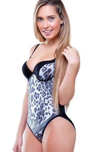 Vedette Angelique Animal Print Body Shapewear - Animal Print