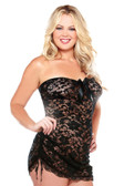 Fantasy Lingerie Strapless Lace Dress with Adjustable Side Detail and G-String