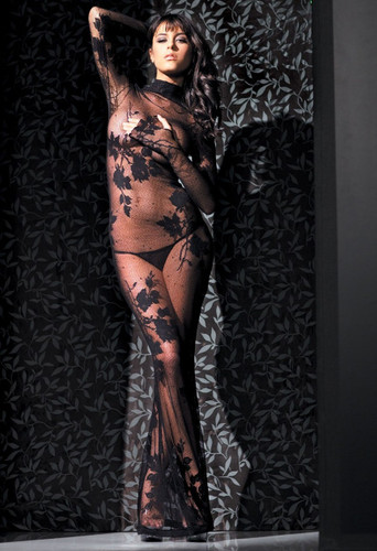 Fantasy Lingerie Long Sleeve Floral Lace Gown with G-String