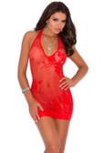 Elegant Moments Lace Halter Style Mini Dress - Red