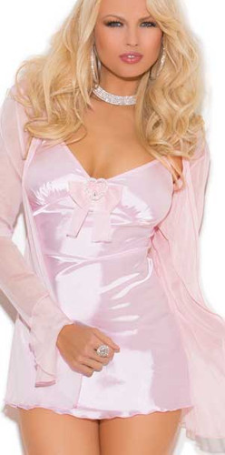 Elegant Moments Three Piece Set Satin Babydoll with Mesh Bow Queen