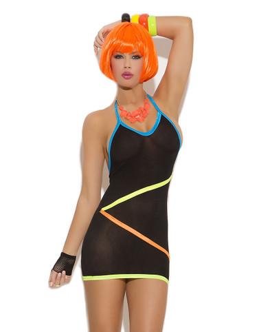 Elegant Moments Mini Dress with Neon Strap