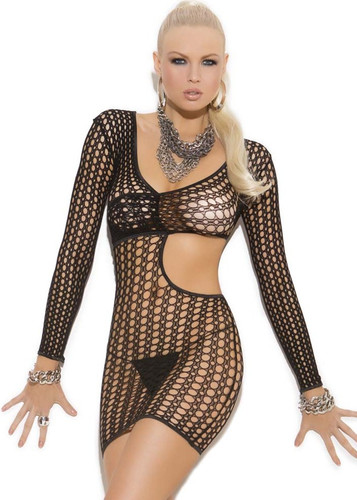 Elegant Moments Crochet Long Sleeve Mini Dress