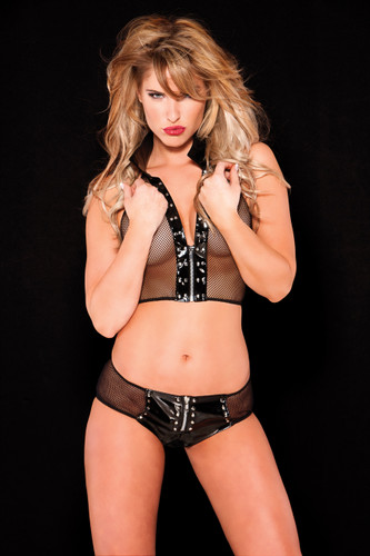Allure Lingerie Vinyl and Fishnet Bustier and Short Set