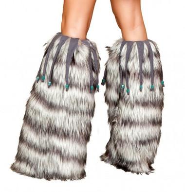 Roma Costume Fur Leg Warmer with Beaded Fringe