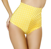 Roma Costume High Waisted Polka Shorts - Yellow/White