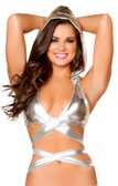 Roma Costume Metallic Wrap Around Hooded Top - Silver