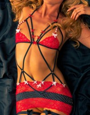 Fearless and Fun Lingerie Polkaa Dot Stretch Chemise With Beads