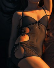 Fearless and Fun Lingerie Cut Out Sides Lycra Net Black Chemise