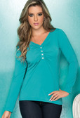 Ryocco Long Sleeve Blouse with Button Front Detail