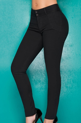 Ryocco Stretch Cotton Skinny Pants - Black