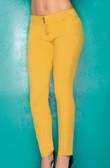 Ryocco Stretch Cotton Skinny Pants - Mustard