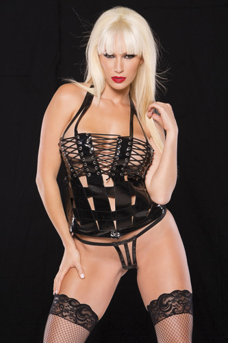 Allure Lingerie Noir Vinyl Cage Top and G-String Set