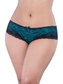Oh la la Cheri Queen Size Lace Cage Back Panty - Black/Turquoise