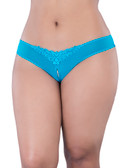 Oh la la Cheri Queen Size Crotchless Pearl Panty - Teal