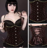Timeless Trends Brown Steampunk Velvet Long Corset