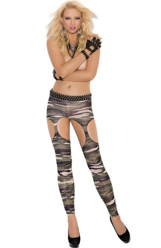 Elegant Moments Camouflage Garter Leggings