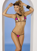 Elegant Moments Black Trim Neon Pink Lycra Bikini Set