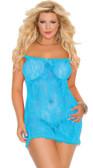 Elegant Moments Plus Size Stretch Lace Chemise - Turquoise