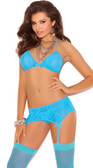 Elegant Moments Stretch Lace Halter Bra Set - Turquoise
