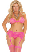 Elegant Moments Plus Size Stretch Lace Halter Bra Set - Neon Pink