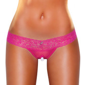 Hustler Lingerie Clitoral Stimulating Thong with Beads - Hot pink