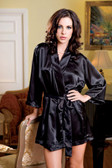 iCollection Satin 3/4 Sleeve Robe with Matching Sash - Black
