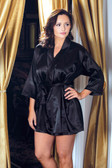 iCollection Satin 3/4 Sleeve Robe with Matching Sash - Queen Size - Black