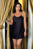 iCollection Satin Chemise - Queen Size - Black