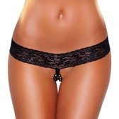 Hustler Lingerie Lace Thong with Stimulating Beads