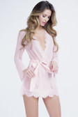 Oh la la Cheri Eyelash Robe with Satin Sash - Pink