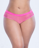 Oh La La Cheri Queen Size Open Back Fishnet Panty with Charm - Pink