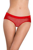 Oh la la Cheri Open Back Fishnet Hipster with Charm - Red