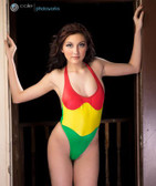 Starwear USA Bell Triple Tone Halter Style One Piece Suit - Rasta Red/Yellow/Green