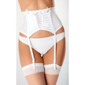 Escante Satin and Lycra Garterbelt - White