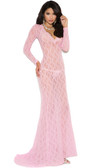 Elegant Moments Long Sleeve Lace Gown with Deep V Front