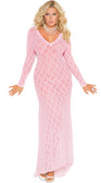 Elegant Moments Queen Long Sleeve Lace Gown with Deep V Front