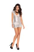 Elegant Moments Cut Out Lame Mini Dress