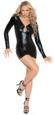 "Elegant Moments ""Wet Look"" Long Sleeve Mini Dress"