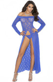 Elegant Moments Long Sleeve Lace Gown with Front Slit and G-String - One Size