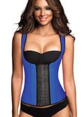 Ann Chery Classic 3 Hooks Latex Latex Waist Shapewear Vest - Blue