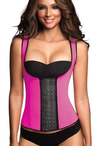 Ann Chery Classic 3 Hooks Latex Latex Waist Shapewear Vest Plus Size - Fuchsia