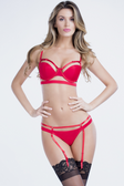 Oh la la Cheri Bandage Thong with Removable Garters - Red