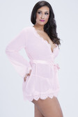 Oh la la Cheri Bridal Eyelash lace robe and G-string - Queen Size - Pink