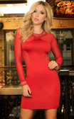 Mapale Long Sleeve Sheer Dress - Red