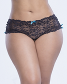 Oh La La Cheri Side Sweep Boyshort - Queen Size - Black/Teal