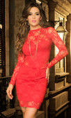 Mapale Lacy Long Sleeve Dress - Red